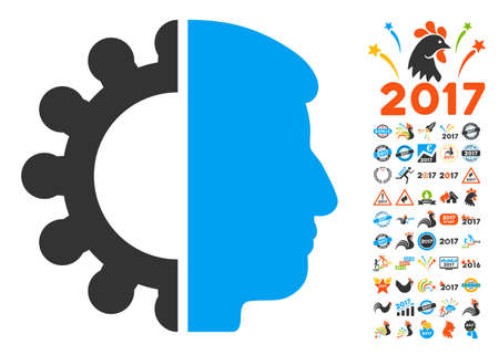Android Head pictograph with bonus 2017 new year pictograph collection. Glyph illustration style is flat iconic symbols,modern colors, rounded edges.