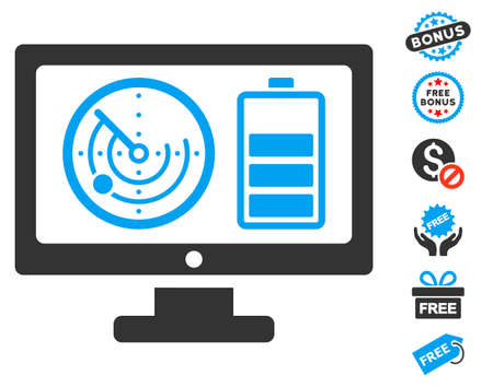 localization: Radar Battery Control Monitor icon with free bonus clip art. Glyph illustration style is flat iconic symbols, blue and gray colors, white background. Stock Photo