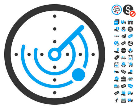 Radar pictograph with free bonus clip art. Glyph illustration style is flat iconic symbols, blue and gray colors, white background. Stock Photo
