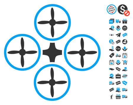 Quadcopter icon with free bonus pictures. Glyph illustration style is flat iconic symbols, blue and gray colors, white background.
