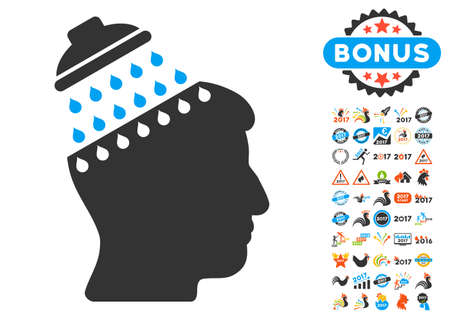 Brain Shower icon with bonus 2017 new year graphic icons. Glyph illustration style is flat iconic symbols,modern colors, rounded edges.