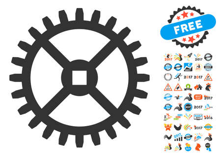 Clock Gear icon with bonus 2017 new year images. Glyph illustration style is flat iconic symbols,modern colors, rounded edges. Stock Photo