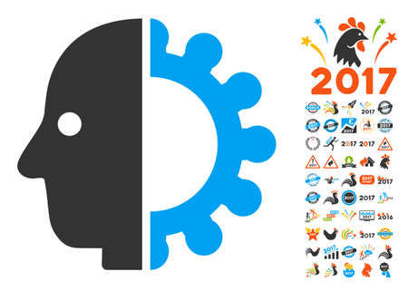 Cyborg Head pictograph with bonus 2017 new year graphic icons. Glyph illustration style is flat iconic symbols,modern colors, rounded edges.