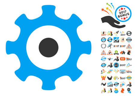 Gear pictograph with bonus 2017 new year pictures. Glyph illustration style is flat iconic symbols,modern colors, rounded edges. Stock Photo