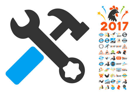 Hammer and Wrench icon with bonus 2017 new year icon set. Glyph illustration style is flat iconic symbols,modern colors, rounded edges.