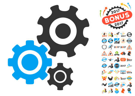 Gear Mechanism icon with bonus 2017 new year symbols. Glyph illustration style is flat iconic symbols,modern colors, rounded edges.