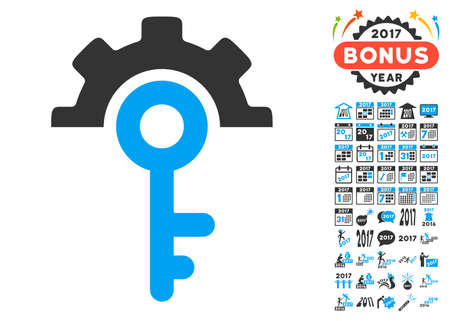 Key Options pictograph with bonus 2017 new year symbols. Glyph illustration style is flat iconic symbols,modern colors, rounded edges. Stock Photo