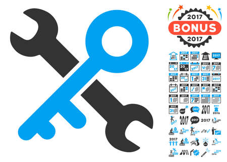 Key Tools icon with bonus 2017 new year pictures. Glyph illustration style is flat iconic symbols,modern colors, rounded edges.