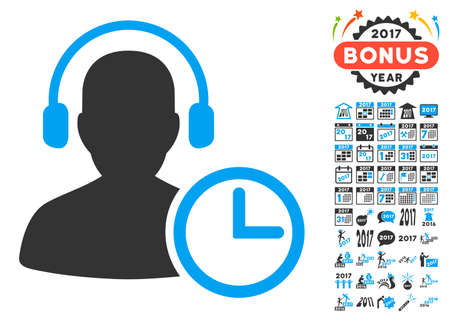 Operator Time icon with bonus 2017 new year pictograph collection. Glyph illustration style is flat iconic symbols,modern colors, rounded edges.