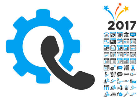 Phone Configuration pictograph with bonus 2017 new year graphic icons. Glyph illustration style is flat iconic symbols,modern colors, rounded edges.