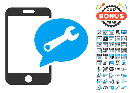 sms: Phone Service SMS icon with bonus 2017 new year icon set. Glyph illustration style is flat iconic symbols,modern colors, rounded edges. Stock Photo