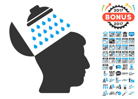 Propaganda Brain Shower pictograph with bonus 2017 new year graphic icons. Glyph illustration style is flat iconic symbols,modern colors, rounded edges.