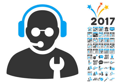 Service Operator pictograph with bonus 2017 new year images. Glyph illustration style is flat iconic symbols,modern colors, rounded edges.