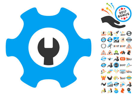 power wrench: Service Tools icon with bonus 2017 new year design elements. Glyph illustration style is flat iconic symbols,modern colors, rounded edges.