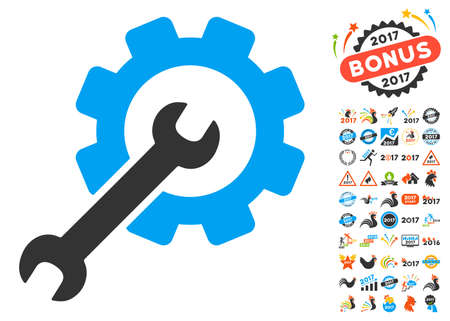 Setup Tools pictograph with bonus 2017 new year pictures. Glyph illustration style is flat iconic symbols,modern colors, rounded edges.