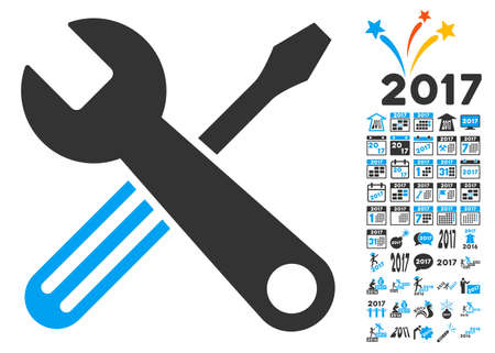 Tools icon with bonus 2017 new year pictograms. Glyph illustration style is flat iconic symbols,modern colors, rounded edges.