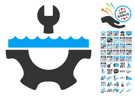 Water Service Gear pictograph with bonus 2017 new year clip art. Glyph illustration style is flat iconic symbols,modern colors, rounded edges.