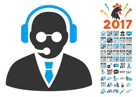 Support Manager pictograph with bonus 2017 new year pictograms. Glyph illustration style is flat iconic symbols,modern colors, rounded edges.