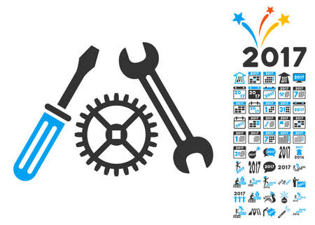 power wrench: Tuning Service pictograph with bonus 2017 new year graphic icons. Glyph illustration style is flat iconic symbols,modern colors, rounded edges.