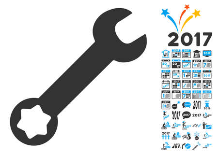 Wrench pictograph with bonus 2017 new year symbols. Glyph illustration style is flat iconic symbols,modern colors, rounded edges.