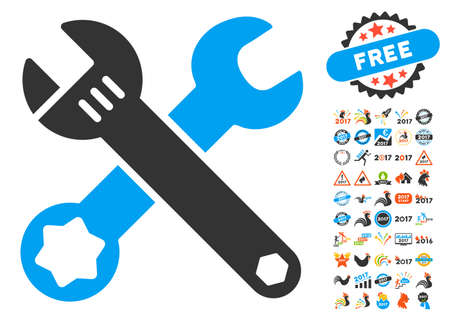 Wrenches pictograph with bonus 2017 new year pictograms. Glyph illustration style is flat iconic symbols,modern colors, rounded edges.