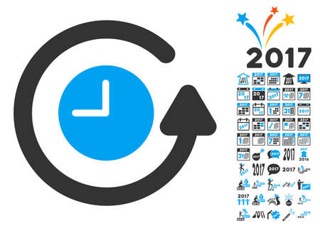 synchronize: Restore Clock icon with bonus 2017 new year pictures. Glyph illustration style is flat iconic symbols,modern colors, rounded edges. Stock Photo