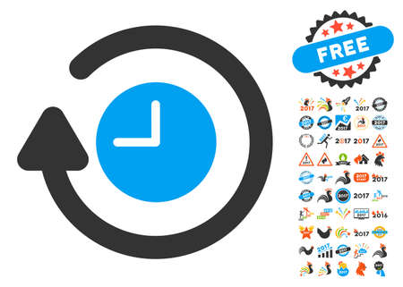 Repeat Clock pictograph with bonus 2017 new year clip art. Glyph illustration style is flat iconic symbols,modern colors, rounded edges. Stock Photo