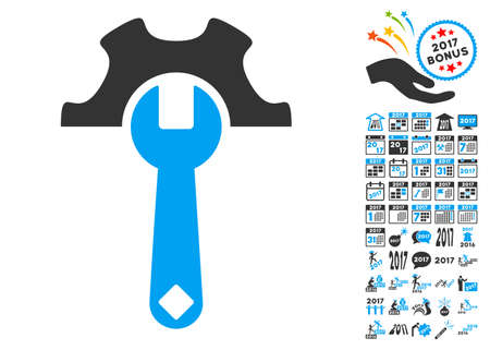 Service Tools pictograph with bonus 2017 new year images. Glyph illustration style is flat iconic symbols,modern colors, rounded edges.
