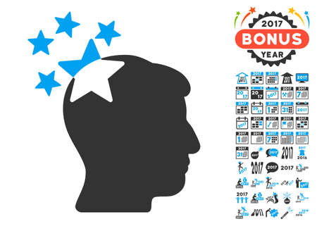 ruch: Stars Hit Head pictograph with bonus 2017 new year symbols. Glyph illustration style is flat iconic symbols,modern colors, rounded edges.