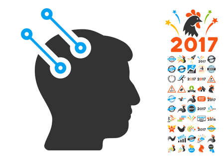 Neural Interface Connectors icon with bonus 2017 new year graphic icons. Glyph illustration style is flat iconic symbols,modern colors, rounded edges.