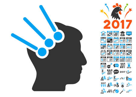Neural Interface Connectors pictograph with bonus 2017 new year graphic icons. Glyph illustration style is flat iconic symbols,modern colors, rounded edges.