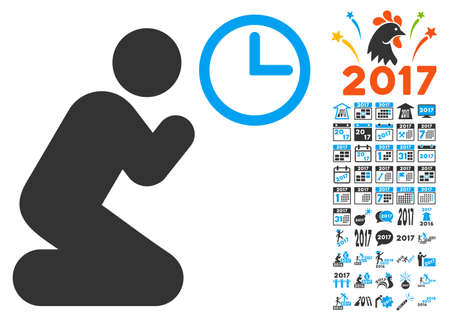 Pray Time pictograph with bonus 2017 new year design elements. Glyph illustration style is flat iconic symbols,modern colors, rounded edges. Stock Photo