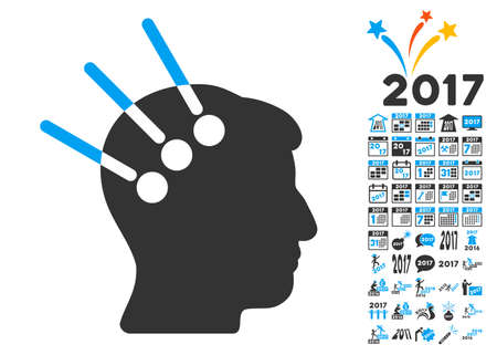 Neural Interface icon with bonus 2017 new year clip art. Glyph illustration style is flat iconic symbols,modern colors, rounded edges. Stock Photo