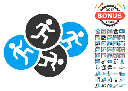 Running Men pictograph with bonus 2017 new year icon set. Glyph illustration style is flat iconic symbols,modern colors, rounded edges.