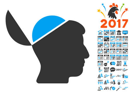 sculp: Open Brain pictograph with bonus 2017 new year clip art. Glyph illustration style is flat iconic symbols,modern colors, rounded edges.