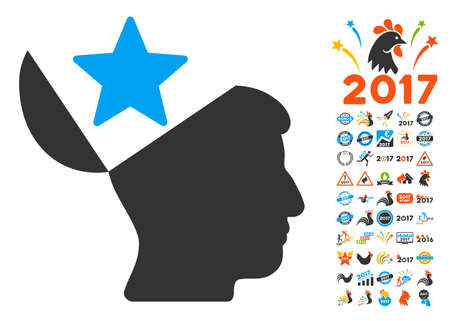sculp: Open Head Star pictograph with bonus 2017 new year design elements. Glyph illustration style is flat iconic symbols,modern colors, rounded edges.