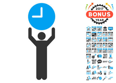 Time Manager icon with bonus 2017 new year pictograph collection. Glyph illustration style is flat iconic symbols,modern colors, rounded edges.