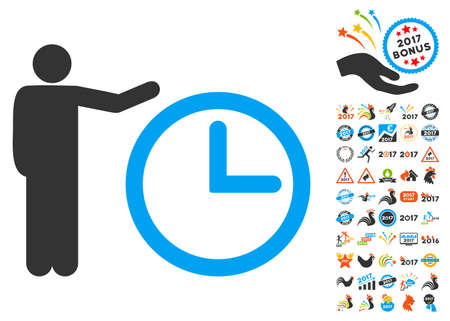 Time Show icon with bonus 2017 new year images. Glyph illustration style is flat iconic symbols,modern colors, rounded edges.