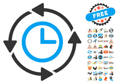 Wayback Clock pictograph with bonus 2017 new year icon set. Glyph illustration style is flat iconic symbols,modern colors, rounded edges. Stock Photo