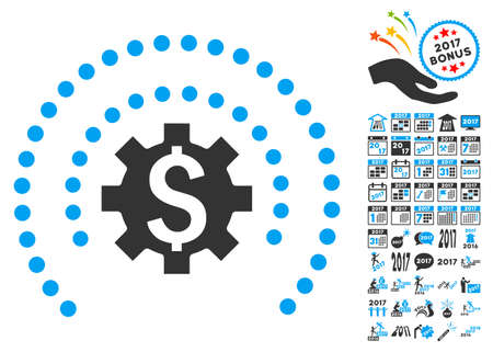 Financial Industry Protection Sphere pictograph with bonus 2017 new year design elements. Glyph illustration style is flat iconic symbols,modern colors.