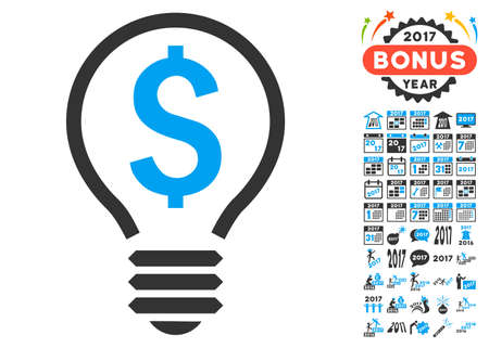 Patent Bulb pictograph with bonus 2017 new year pictograms. Glyph illustration style is flat iconic symbols,modern colors.