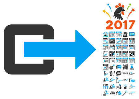 way out: Exit Direction icon with bonus 2017 new year clip art. Glyph illustration style is flat iconic symbols,modern colors.