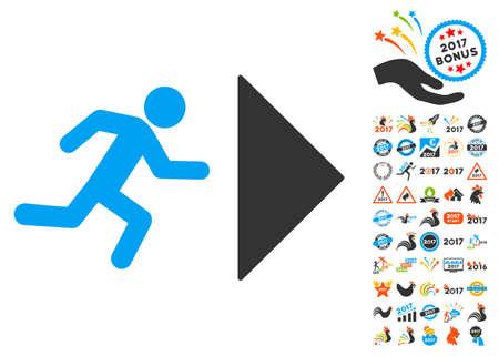 Exit Direction icon with bonus 2017 new year symbols. Glyph illustration style is flat iconic symbols,modern colors.