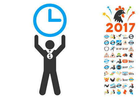 event icon: Time Champion pictograph with bonus 2017 new year graphic icons. Glyph illustration style is flat iconic symbols,modern colors, rounded edges.