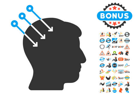 Neural Interface Connectors pictograph with bonus 2017 new year design elements. Glyph illustration style is flat iconic symbols,modern colors, rounded edges. Stock Photo
