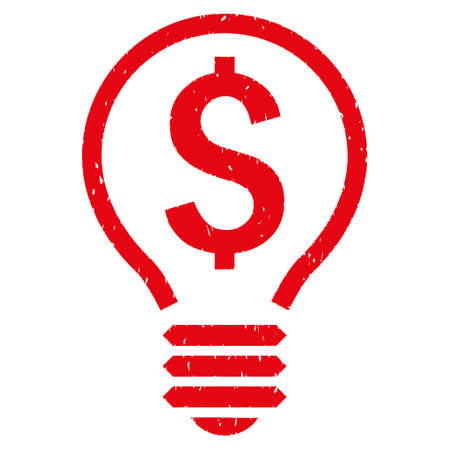 Patent Bulb grainy textured icon for overlay watermark stamps. Flat symbol with dust texture. Dotted vector red ink rubber seal stamp with grunge design on a white background.
