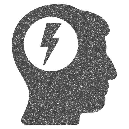 bolt head: Brain Electric Shock grainy textured icon for overlay watermark stamps. Flat symbol with scratched texture. Dotted glyph gray ink rubber seal stamp with grunge design on a white background. Stock Photo