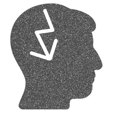 ruch: Brain Electric Strike grainy textured icon for overlay watermark stamps. Flat symbol with dirty texture. Dotted glyph gray ink rubber seal stamp with grunge design on a white background.