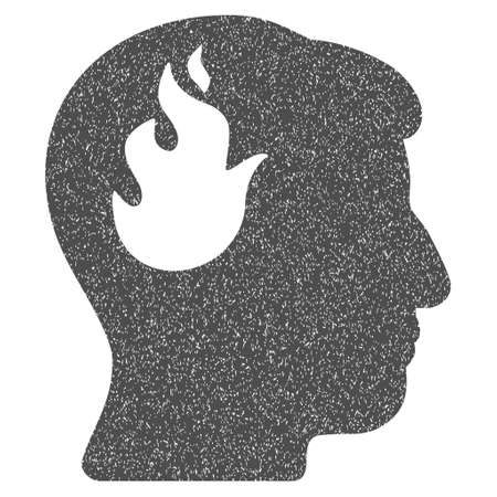 ruch: Brain Fire grainy textured icon for overlay watermark stamps. Flat symbol with dust texture. Dotted glyph gray ink rubber seal stamp with grunge design on a white background.