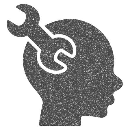 Brain Service Wrench grainy textured icon for overlay watermark stamps. Flat symbol with dust texture. Dotted glyph gray ink rubber seal stamp with grunge design on a white background.
